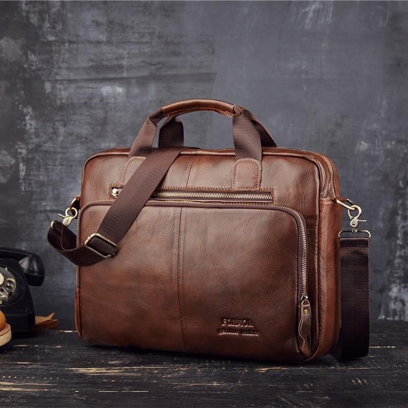 Man Messenger Bag Laptop Brand Design Women's Genuine Leather Bag Real Crow Casual Man Briefcase Bag Leather Work Office Busines