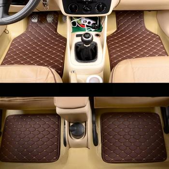 4PCS Universal Car Floor Mats Auto Front Rear Leather Carpet Waterproof Dustproof Foot Mat For Toyota Kia Car Accessories L1 image
