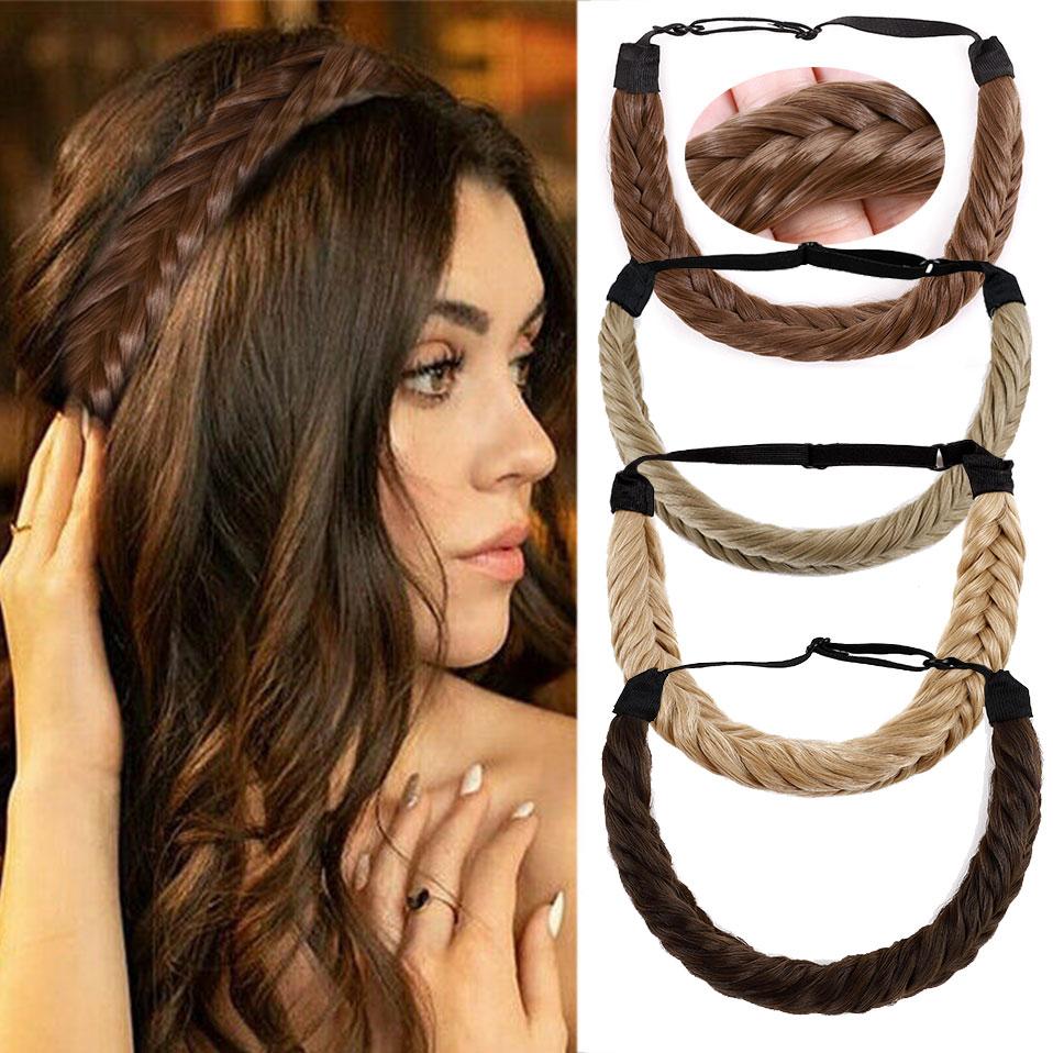 S-noilite fishbone tranças torção elástica cabelo bandana com cinto ajustável mulher sintética estilo de cabelo trançado bandana hairpiece