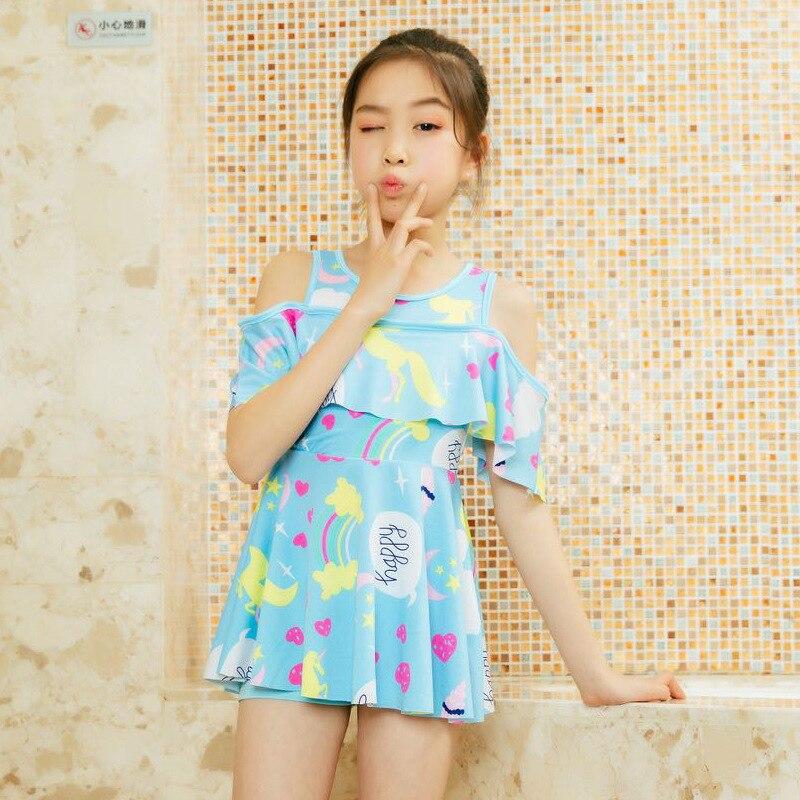 Children's Swimwear GIRL'S Two-Piece Big Virgin Girls CHILDREN'S Baby Swimming Suit One-piece Swimsuit Set