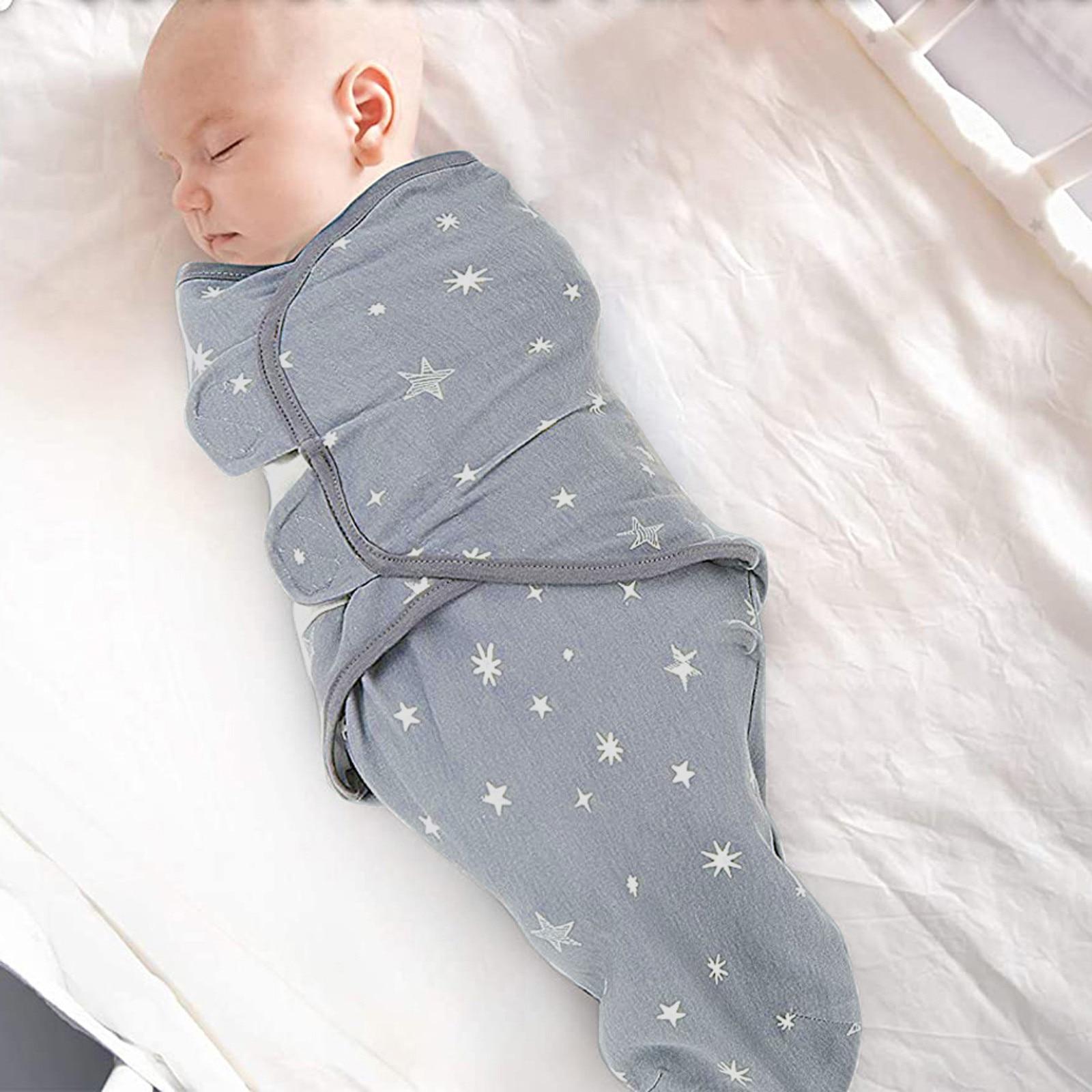 Baby Newborn Blanket 0-3 Months Organic Cotton Stars Stripe Swaddle baby blankets newborn muslin swaddle Summer blankets #4