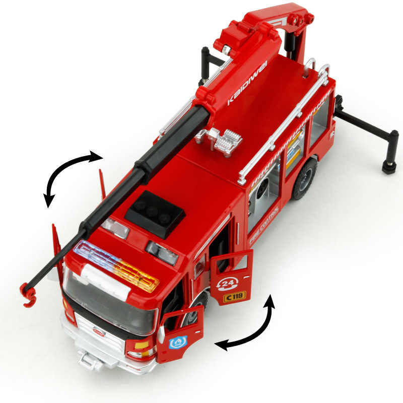 1:50 Simulasi Tinggi Paduan Penyelamatan Truk Pemadam Kebakaran Model Empat Pintu Terbuka Model Mainan untuk Anak-anak Hadiah