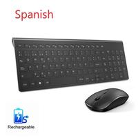 Aopei Spanish Wireless Keyboard And Mouse2400DPI Ergonomic Silence Wireless Mouse for PC, Laptop, TV, Windows Spanish Keyboard
