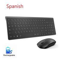 Spanish Wireless keyboard and mouse set Ergonomic design For PC Laptop games Spanish keyboard