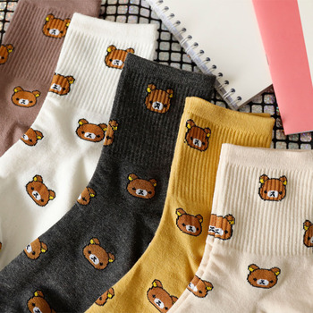 5pc 1 Pair of Cute cartoon women's pure Cotton socks cute and Fashionable bear socks five Colors of pure Cotton Female socks image