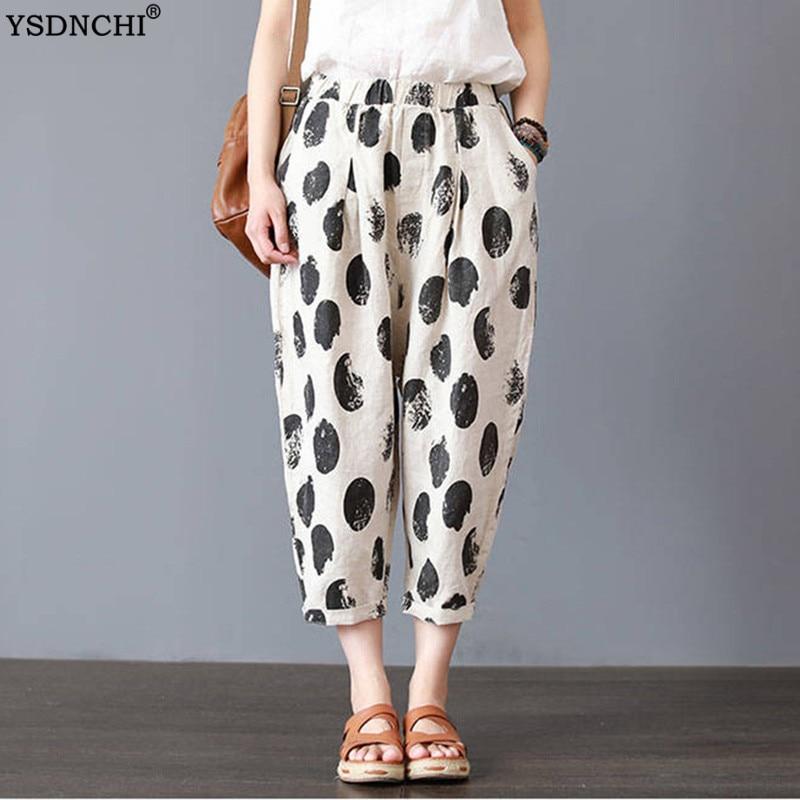 Summer Linen Pants Women Casual Floral Dot Harem Pants Printed Loose Fashion XXXL Elastic Waist 4XL Plus Size Trousers