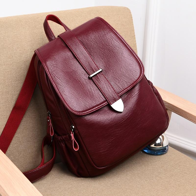 Backpack Women Fashion High Quality  Pu Leather Bag For Women Zipper Pocket Ladies Bag Anti Theif Women Bag