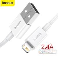 Baseus-Cable USB de carga rápida para móvil, Cable de carga rápida de 2.4A para iPhone 5s, 6s, 7 SE, iPhone 12, 11 Pro Max, Xs, X, 8 Plus