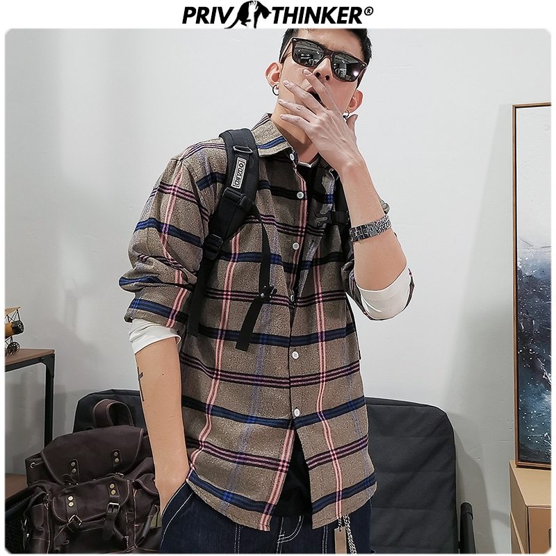 Privathinker Casual Spring Printed Shirts Men 2020 Loose Fashion Man Blouse Male Collage Long Sleeve Shirts Plaid Clothing 5XL