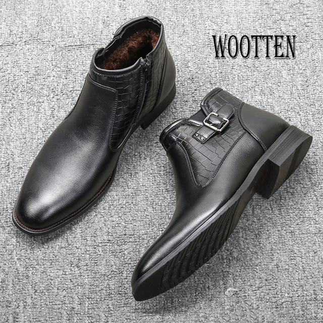 40-46 Men ankle Boots Comfortable Lather Snow Boots 2020 Non-Slip warm men's winter Dress shoes #DM5281C1 1