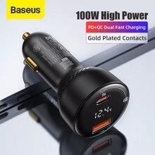 "Baseus 100W מטען לרכב כפול יציאת USB סוג C מהיר מטען דיגיטלי PPS QC פ""ד 3.0 מחשב נייד טלפון מטען עבור iPhone סמסונג Xiaomi"