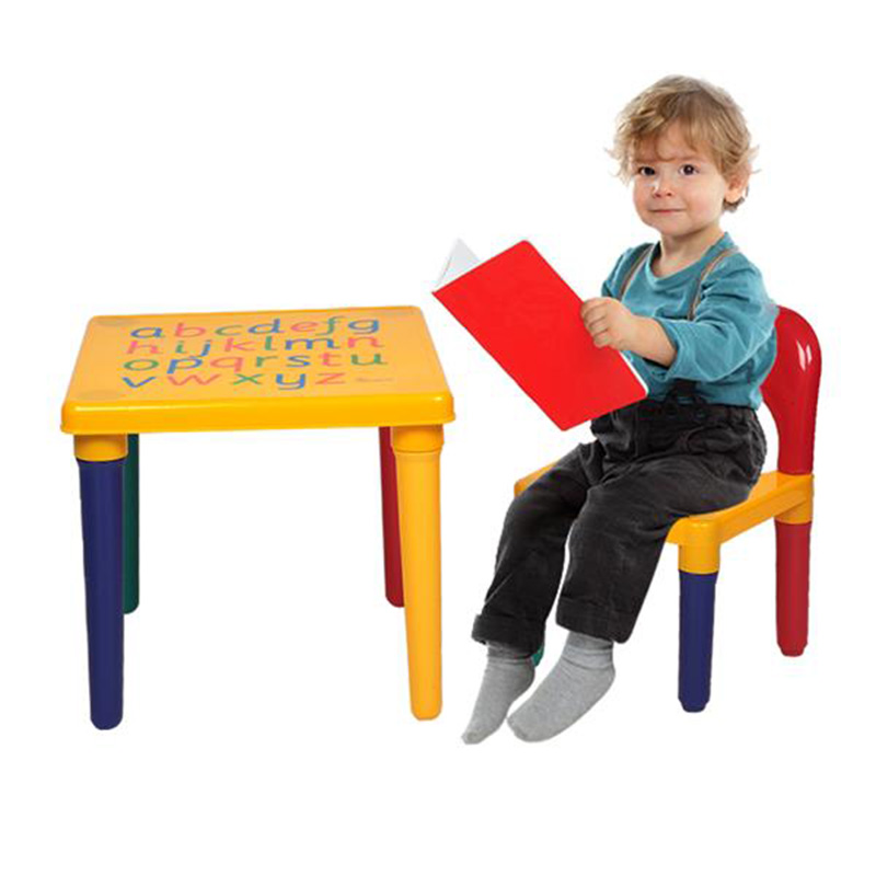 Children Letter Table Chair Set Yellow & Red For Kids Desk Kit