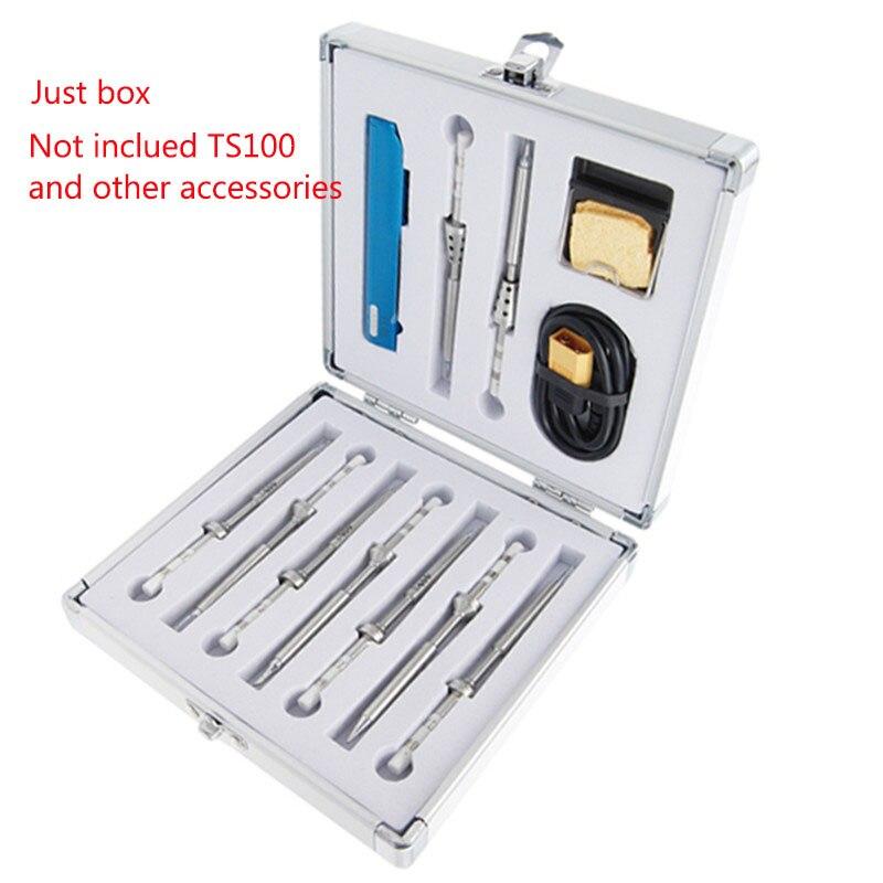 Aluminium Package Box Soldering Iron Dedicated Storage Box TS100 Electric Soldering Iron Tip Organizer Box