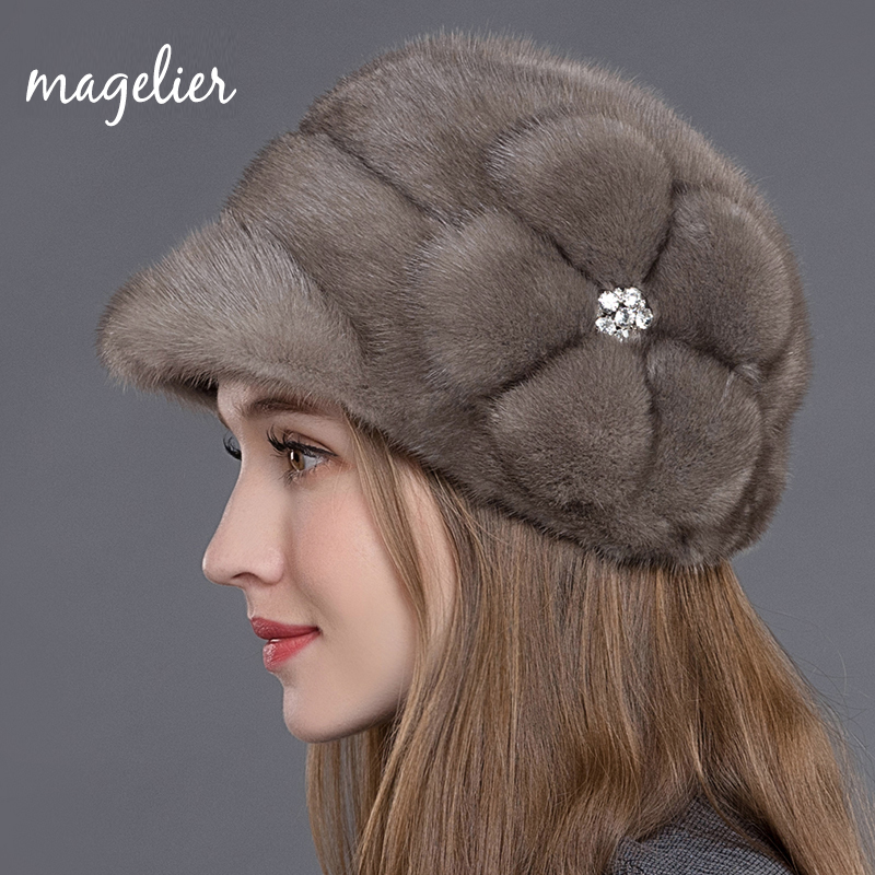 Real Fur Hats for Women Russian Winter Warm Luxurious Natural Mink Fur Peaked Cap Fashion Brand Visors Floral New Arrival