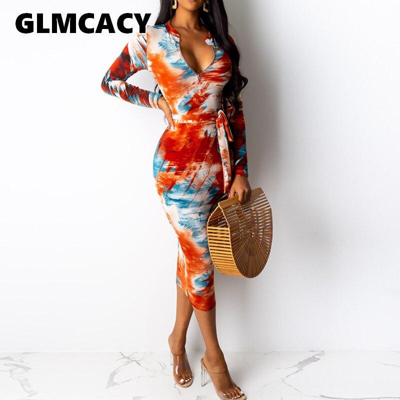 Women O-neck Print Long Sleeve Dress Autumn Streetwear Colorful Graffiti Zipper Bodycon Mid-calf Dress