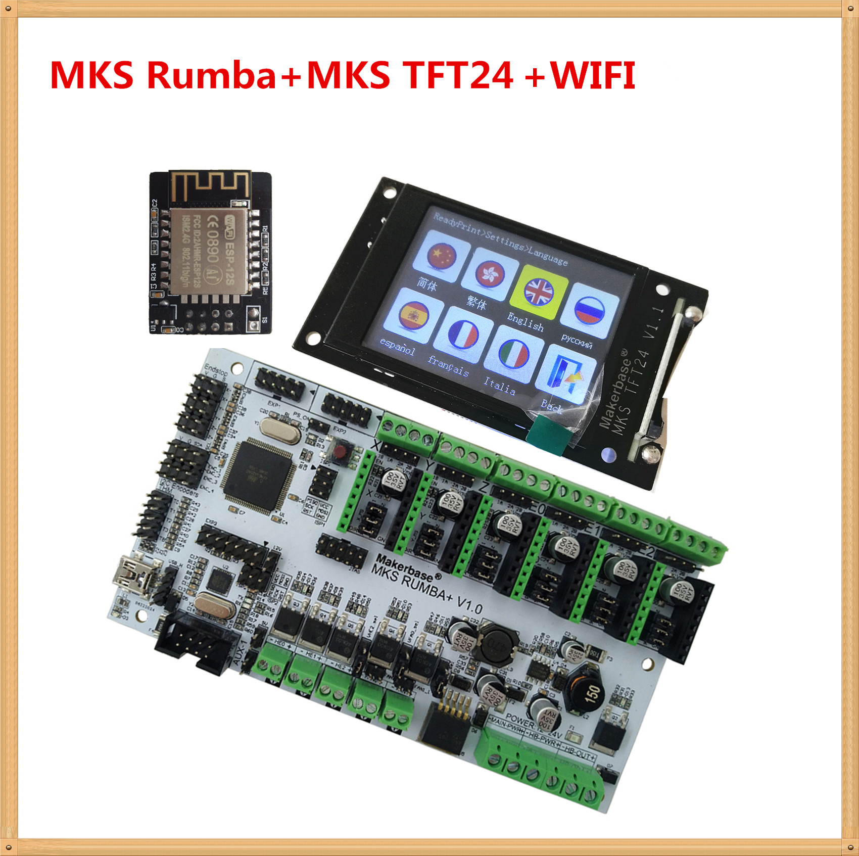 3D Printer Motherboard MKS Rumba + MKS TFT24 Display 2.4 Inch Touch Screen LCD Controller Card Rumba-board Electronic Diy Kit