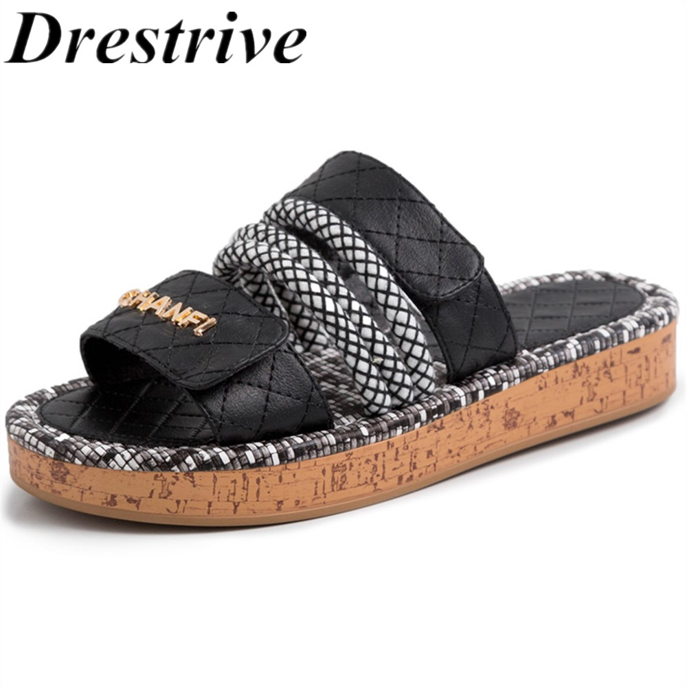 Insicre Women Slippers Flat With Heel Cow Leather Platform Female Summer Shoes Black Real Leather Girls Sandals Casual Shoes