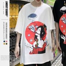 Harajuku Japanese Geisha Girl Culture Print Short Sleeve Streetwear T Shirts Tops Hip Hop Casual