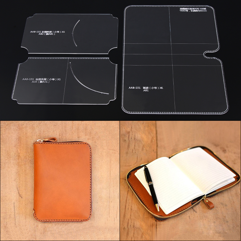 1Set DIY Acrylic Template Tool Wallet Lightweight Handbag Leather Craft Pattern DIY Stencil Sewing Pattern 17.5cm*24cm