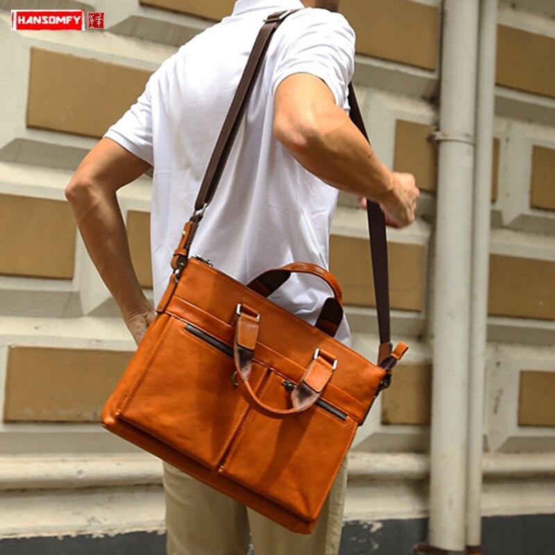 New Genuine Leather Men's Handbag Male Shoulder Messenger Bag Business 14 Inch Document Computer Bag Fashion Casual Briefcases
