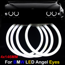 цена на Car-styling  4x146mm Dual Color White & yellow Halo Cotton Light car smd LED Angel eyes for BMW E46 non Projector Auto Lighting