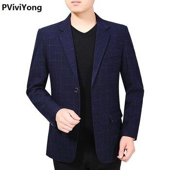 PViviYong 2019 New Fashion Men Slim high quality slim lattic Blazer Jacket Two Button Lapel Casual Long Sleeve Pockets Top  1920