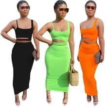 2020 yaz kadın iki adet setleri elbiseler kolsuz mahsul Tops + etek takım elbise seksi sokak gece kulübü eşofman sokak GL060