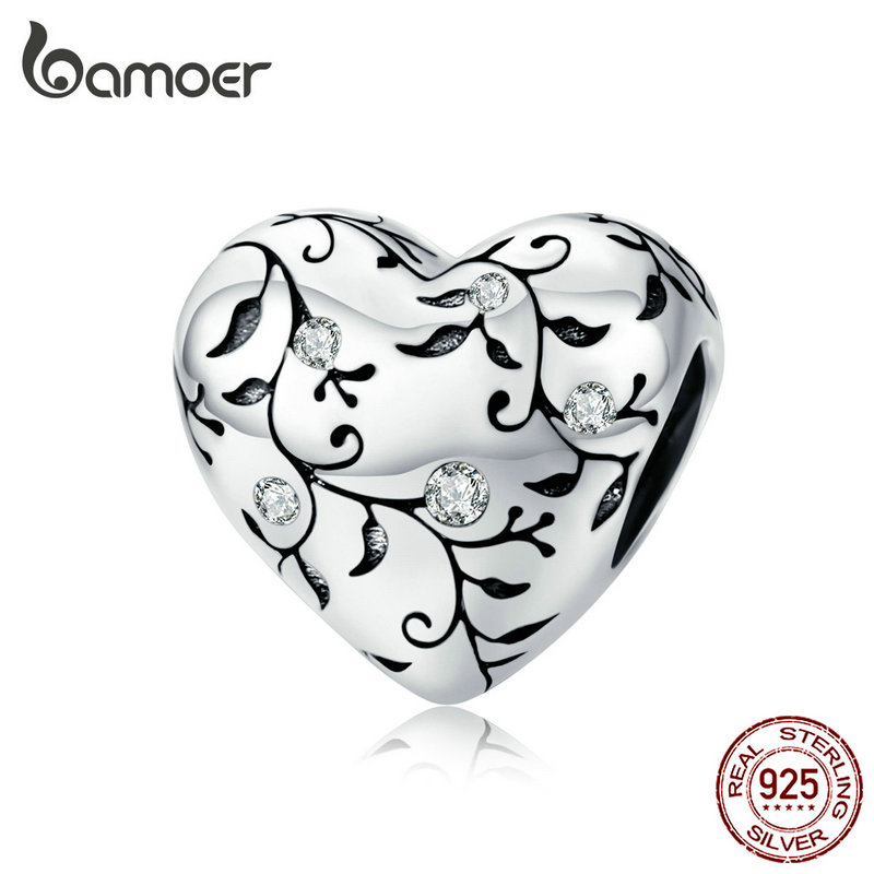 bamoer European Patterns Heart Beads Charm Silver 925 Original Pastoral Style Retro Flower Charms Jewelry DIY 2019 New SCC1323(China)