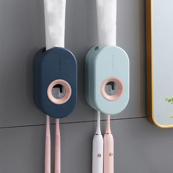Nowy samoprzylepny automatyczny zestaw do wyciskania pasty do zębów zestaw wieszaczek na szczoteczkę do zębów ściana ssania pasta do zębów wyciskacz ścienny uchwyt do pasty do zębów tanie i dobre opinie CN (pochodzenie) Z tworzywa sztucznego