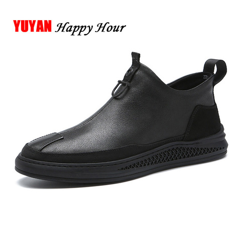 2019 Autumn Early Winter Shoes Men Genuine Leather Chelsea Boots Fashion Male Shoes Cow Leather Man Ankle Boots Black A1120 Lahore