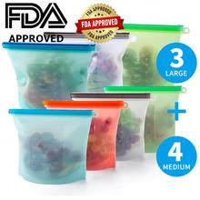 RASABOX - Reusable Silicone Food Storage Bags, Freezer Airtight Seal, Cooking Sous Vide Bags Clear