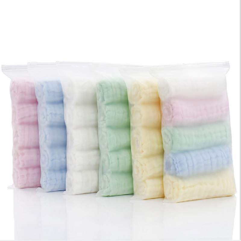 5pcs/lot Muslin 6 Layers Cotton Soft Baby Towels Baby Face Towel  Handkerchief Bathing Feeding Face Washcloth Wipe Burp Cloths