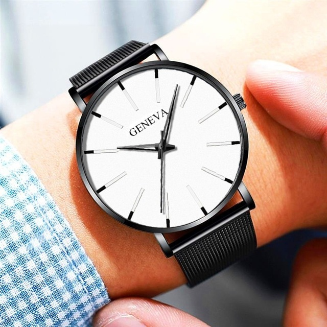 Ultra-Thin Business Men Quartz Stainless Steel Band Wrist Watch 4