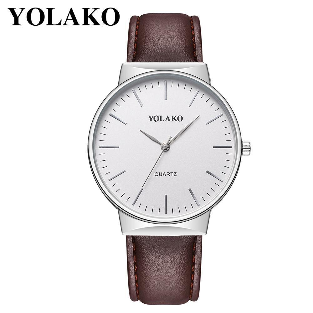 YOLAKO Luxurious Casual Watch Men Quartz Watches Clock Wristwatch Business Leather Band Analog Wrist Watches Mens Top Brand 2019