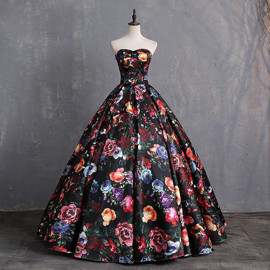 New Sleeveless Sweetheart Sexy Evening Dresses 2020  Floral Print Fashion Luxury Formal Royal Evening Gown For Women