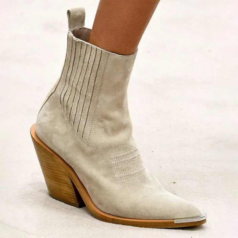 Litthing  Women Ankle Boots Genuine Leather Slip-on Winter High heels Snow Shoes Women Boots Cow Suede Ladies Casual Botas 2019