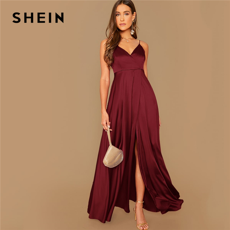 SHEIN Surplice Wrap Solid Glamorous Satin Spaghetti Strap Dress Women Autumn Sleeveless High Waist Sexy Party Cami Maxi Dresses