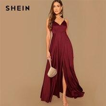 SHEIN Surplice Wrap katı göz alıcı saten spagetti kemerli elbise kadın sonbahar kolsuz yüksek bel seksi parti Cami Maxi elbiseler