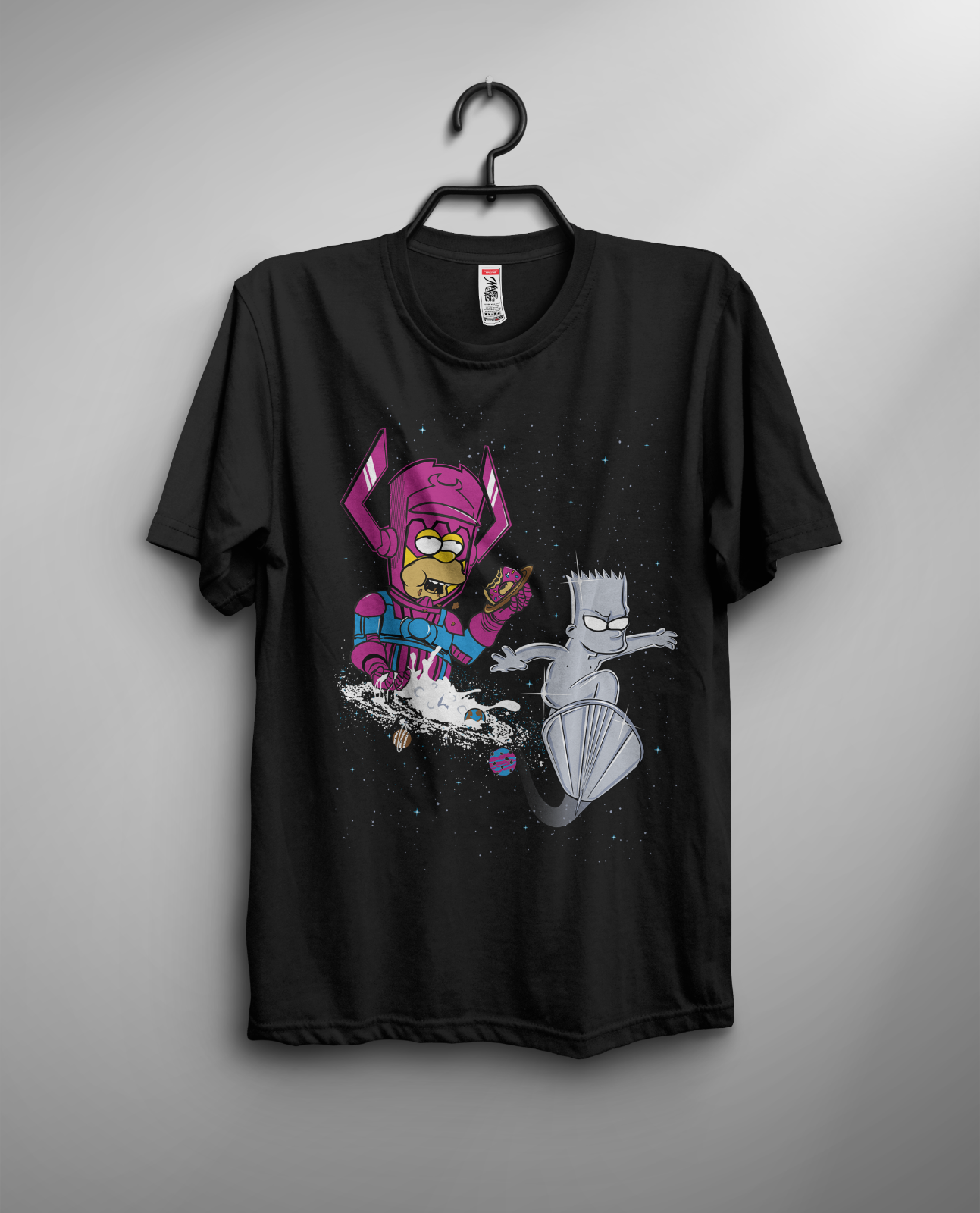 The Rad Surfer T-shirt Simpson Silver Surfer Galactus Bart Homer Comics FUnny Men Cotton T-Shirt Printed T Shirt Top Tee