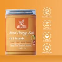 300ml Sweet Orange Body Scrub Cream for Scrubber Exfoliating Scrub to Stay Body Wash Cleansing Whitening Cream & Shrink Pores. 3