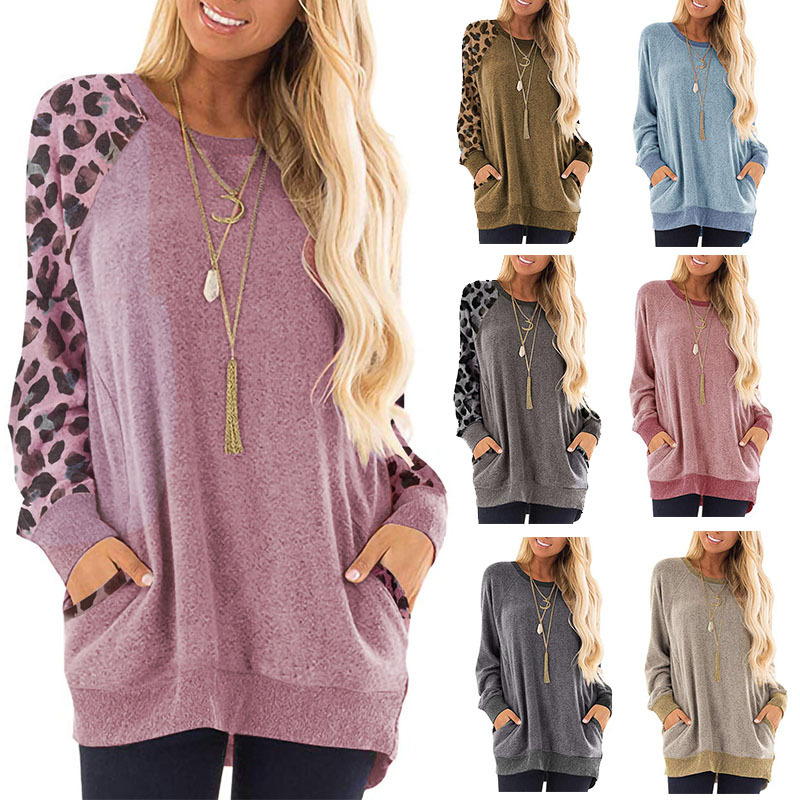 2019 Sweater Autumn And Winter New Leopard Stitching Long-sleeved Round Neck Pullover Sweatshirt Casual Women's Clothing