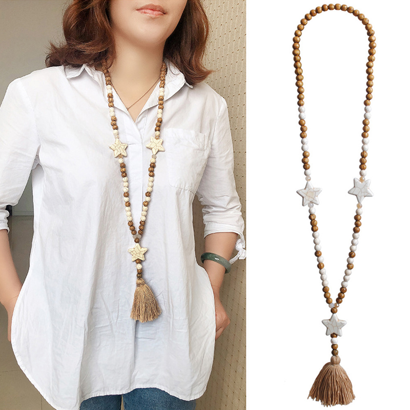 Women Collares De Moda 2019 Ladies Wooden Beads Retro Tassel Necklace New Fashion Beaded Women's Necklace Accesorios Mujer