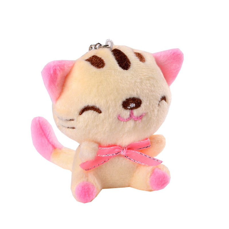 Mini Plush Toy Doll Sitting Smiling Cat Keychain Toys Kawaii Cat 9CM New Stuffed Toy Doll Gift Stuffed Animals For Children