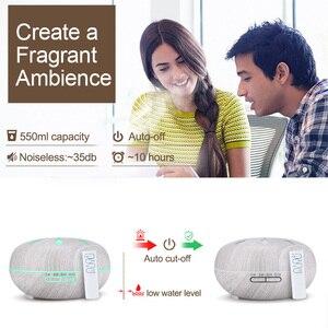 Image 4 - Kbaybo 550 Ml Essentiële Olie Diffuser Luchtbevochtiger Wit Hout Afstandsbediening Aromatherapie Mist Maker Led Nachtlampje Voor Thuis