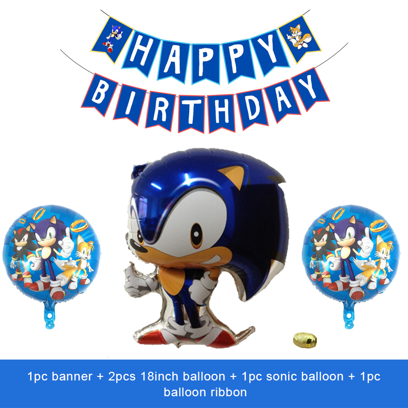 Sonic The Hedgehog Balloons Kids Superhero Sega Game Fans Anime Sonic Theme Party Happy Birthday Banner Decoration Globos Ballons Accessories Aliexpress