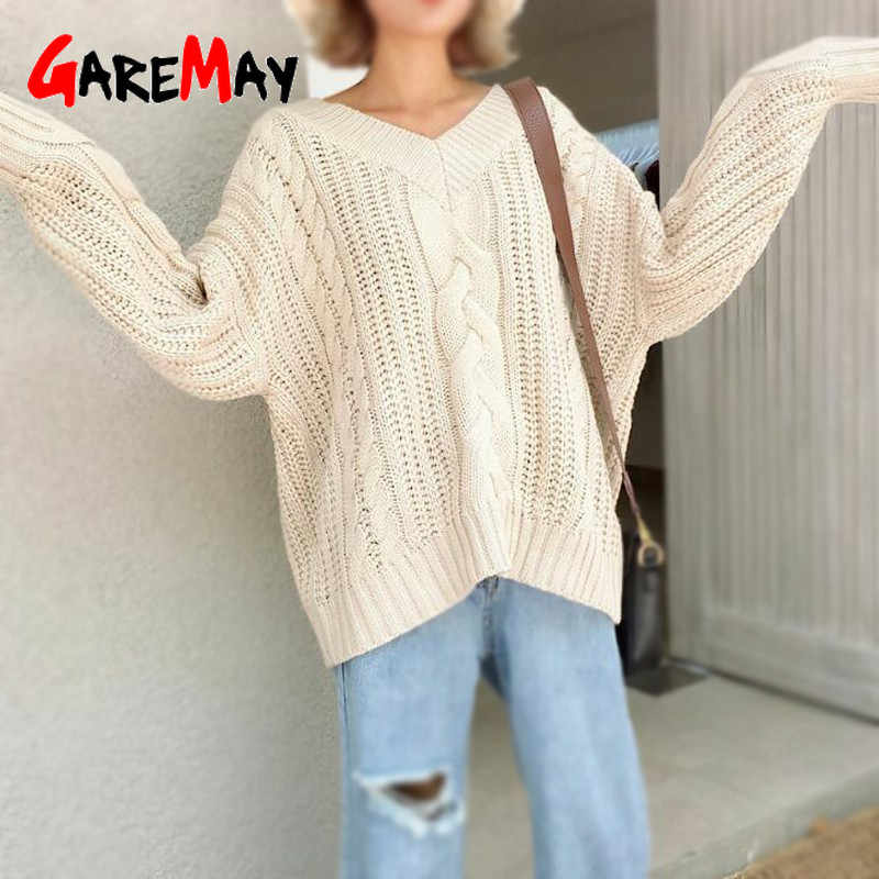 Women Sweater Winter 2019 Korean V Neck Pullovers Wool Knitted Pink Sweater Loose Twisted Long Sleeve Plus Size Sexy Sweater