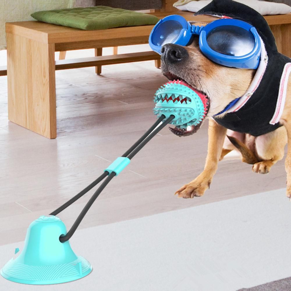 Multifunction Pet Molar Bite Dog Toys Rubber Chew Ball Cleaning Toothbrush Safe Elasticity TPR Soft Puppy Suction Cup Biting Toy image