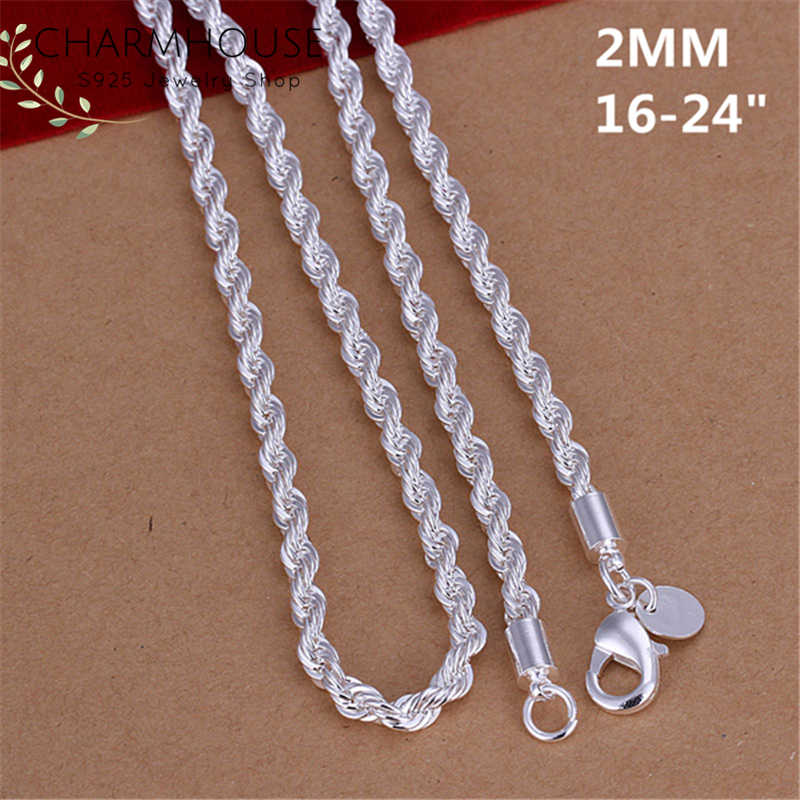 925 Sterling Silver Necklaces For Men Women 2mm Twisted Link Chain Necklace Collier Man Jewelry Accessories Bijoux Wholesale