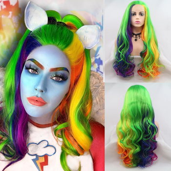 Sylvia Colorful Free Part Wigs Synthetic Lace Front Wig Long Hair Body Wave Wigs Heat Resistant Cosplay Wigs Glueless Women Wigs