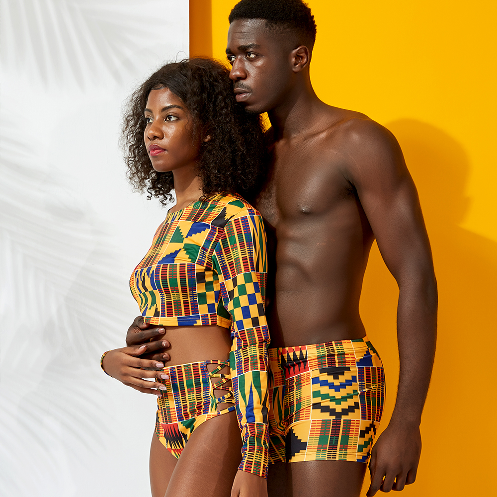 African Couples Clothes Swimwear Sexy African Printed Women And Men Swimsuit Female Sunscreen Swimsuit Beach Sexy Swimwear